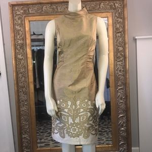 Kay Unger gold silk sheath sleeveless ruching 6
